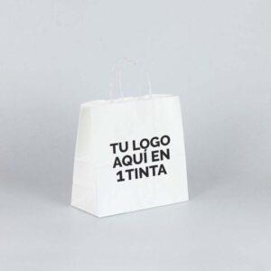 Bolsa papel kraft personalizada cuadrada 25x11x24 blanca 1 tinta