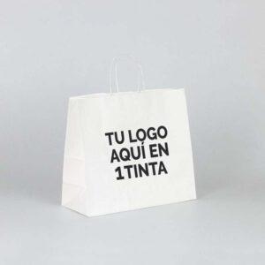 Bolsa papel kraft personalizada apaisada 32x13x28 blanca 1 tinta